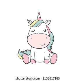 Cute cartoon character unicorn. Print for Baby Shower