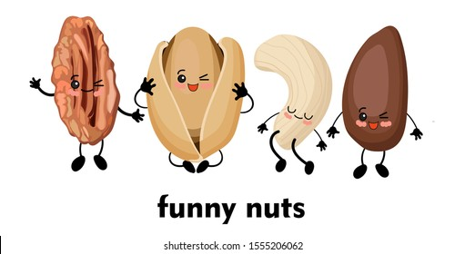 Cute cartoon character. Walnut character. Vector illustration isolated on white background. Pili, cashew, pistachio and pine nuts.