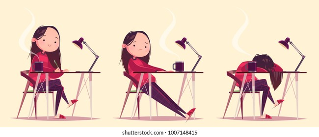 Cute cartoon character working girl at the table with a mug and lamp. Artist, designer, freelancer, student. Tired girl. Concept art. Vector Illustration. Isolated character on light background.
