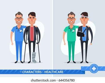 Cute Cartoon Characters. Doctor and Injured Patient - Vector Illustration