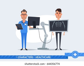 Cute Cartoon Characters. Characters. Doctor Standing Near the Patient During Chest X Ray Procedure - Vector Illustration