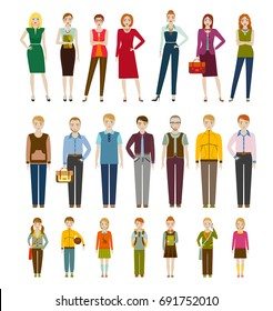 Cute cartoon characters.  Men, women and kids. Vector illustration