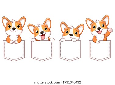 Cute cartoon characters pocket set. Baby collection of kawaii funny, happy, surprised dogs in pockets. Childish print with kawaii welsh corgi puppy for t-shirt. T shirt design. Vector EPS8