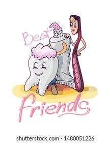 Cute cartoon characters, tooth in the process of grooming and cleaning, toothpaste and toothbrush. Vector illustration. Best friends slogan