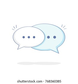 Cute cartoon Chat Speech Bubbles. Flat outline vector illustration icon of Communication, Contact, Talking, Messaging, Chat or Dialogue. Modern trendy isolated social media bubble concept.