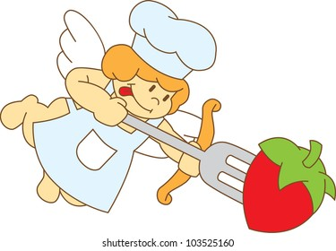 cute cartoon chef cupid with a fork. isolated on white grouped separately