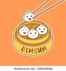 Cute Cartoon Chibi Dimsum Vector Illustration