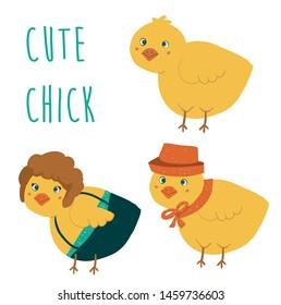 Cute cartoon chick bird set vector illustration