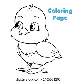 Cute cartoon chick coloring page vector illustration