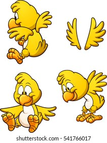 Cute cartoon chicken with different poses. Vector clip art illustration with simple gradients. Each on a separate layer.