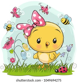 Cute Cartoon Chicken with flowers and butterflies