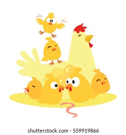 Cute cartoon chicken and chicken, the mother and child. Vector illustration on white background.
