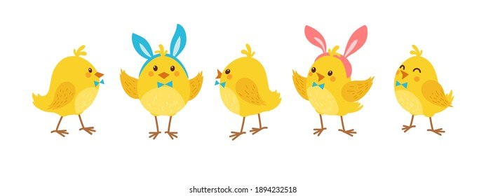 Cute cartoon chicken set. Funny yellow chickens with Bunny Hears in different poses, vector illustration.