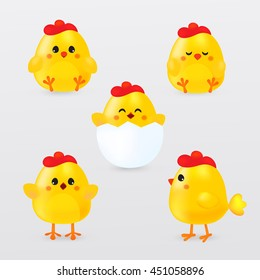 Cute cartoon chicken set. Funny yellow chickens in different positions