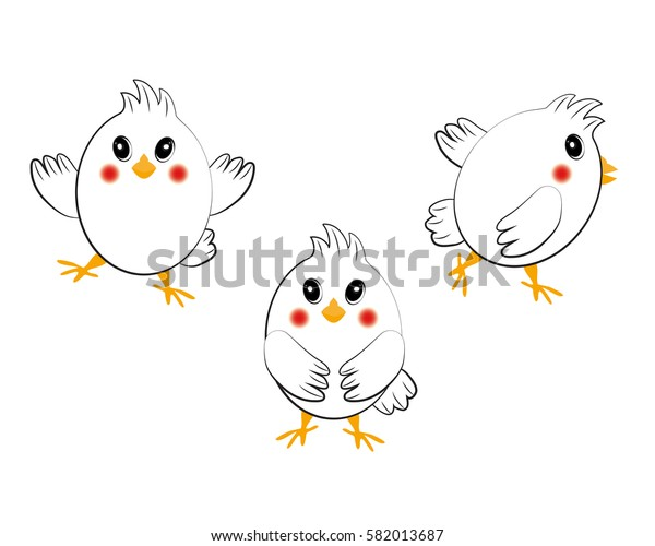 Cute cartoon chicken set. Funny chickens in different poses, vector illustration.