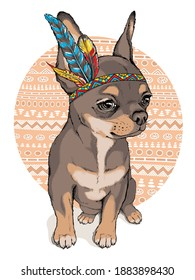Cute cartoon chihuahua in indian headdress. Bright illustration in ethnic style. Stylish image for printing on any surface