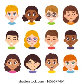 Cute cartoon children avatars set. Diverse kids faces in simple hand drawn style, vector clipart illustration.