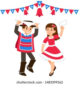 Cute cartoon children dancing Cueca traditional dance in a fonda, celebrating Chilean holiday Dieciocho. Boy and girl in national costumes on Fiestas Patrias with flag banners. Vector illustration.