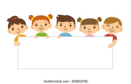 Cute cartoon children holding blank banner template.