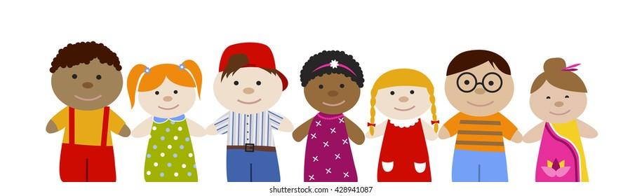 Cute cartoon children set. Multiracial girls and boys. Flat vector illustration. Happy funny kids.