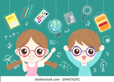 cute cartoon children student wear glasses wtih blackboard