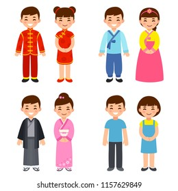 Cute cartoon children in traditional costumes of Asian countries: China, Korea and Japan, and everyday clothes. Vector clip art illustration.