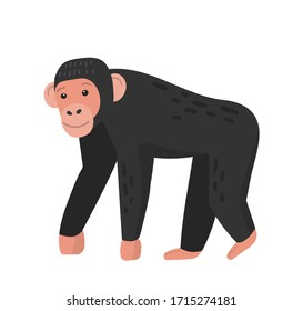 Cute cartoon chimpanzee character. icon of friendly monkey. Vector illustration isolated on white background