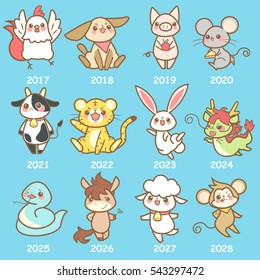 cute cartoon chinese zodiac set with different year