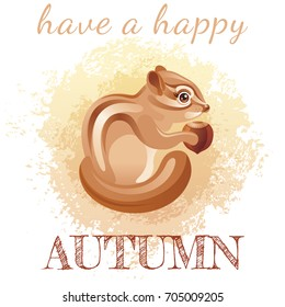 Cute cartoon chipmunk character. Autumn grunge splash design, seasonal greeting card. Hello fall poster.