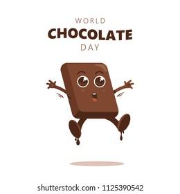 Cute cartoon of chocolate blocks say happy world chocolate day.