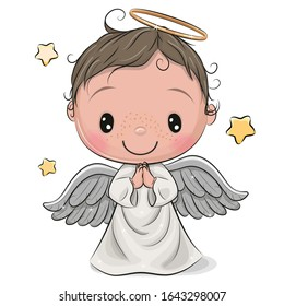 Cute Cartoon Christmas angel boy isolated on white background