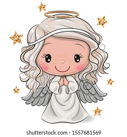 Cute Cartoon Christmas angel isolated on white background