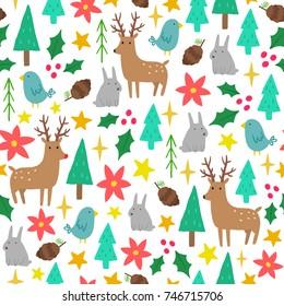 Cute cartoon Christmas background. Vector hand drawn seamless pattern