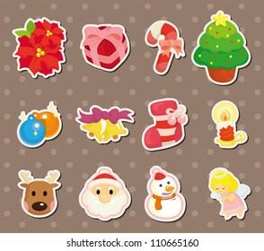 cute cartoon Christmas element stickers