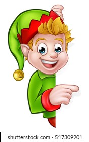 A cute cartoon Christmas elf peeping around sign and pointing