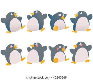 Cute cartoon Christmas penguins.  One set flat color, one gradient. Easy to edit.