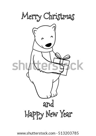 cute cartoon christmas polar bear with gift coloring page for kids merry christmas and