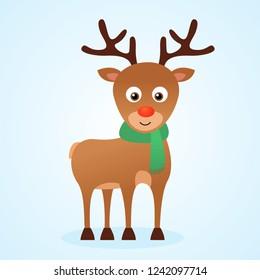 Cute cartoon christmas reindeer Rudolph, vector isolated illustration