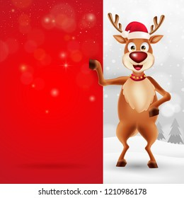 Cute cartoon christmas Reindeer in a Santa Claus hat with big blank red signboard for text in Christmas snow scene