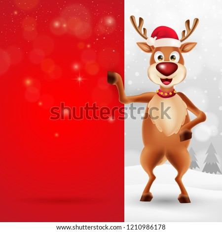 f4440dfe9694f Cute cartoon christmas Reindeer in a Santa Claus hat with big blank red  signboard for text