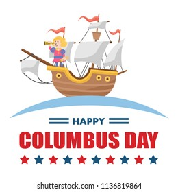Cute cartoon of Christopher Columbus, Vector Illustration