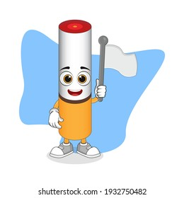 Cute Cartoon Cigarettes Holding a White Flag, Good Design For Character Theme. Flat Vector Mascot Design Template Element.