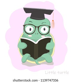 Cute cartoon clever little turtle reading book. Hand drawn style