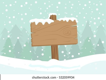 Cute Cartoon Clip Art - Blank wooden direction sign with Falling snow. Empty wooden pointer with white snow and pine forest background, Christmas background