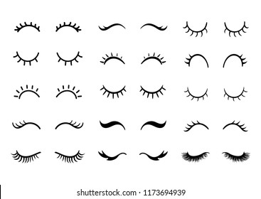 Cute cartoon closed eyes set.  Vector Eyelashes icon collection.