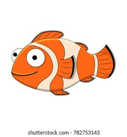 Cute cartoon clown fish. Vector illustration isolated on white background. Tropical fish.