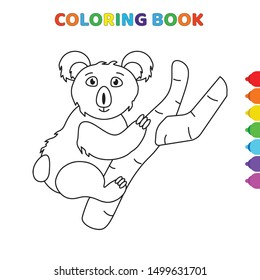 cute cartoon coala on tree coloring book for kids. black and white vector illustration for coloring book. coala on tree concept hand drawn illustration