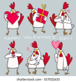 Cute cartoon cock and hen - symbol of 2017. Chinese New Year of the Rooster. Greeting card, Valentine Day design. Illustration in flat style
