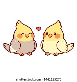 Cute cartoon cockatiel couple drawing. Little parrot birds in love with heart above. Isolated vector clip art illustration.