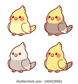 Cute cartoon cockatiel parrots illustration set. Different color mutations, yellow and grey combinations. Isolated vector clip art, adorable drawing style.